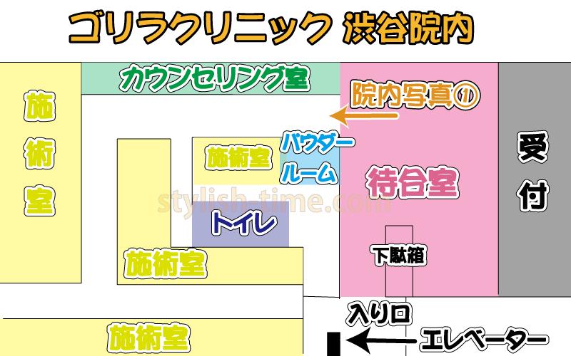 ゴリラクリニック渋谷院の院内マップ