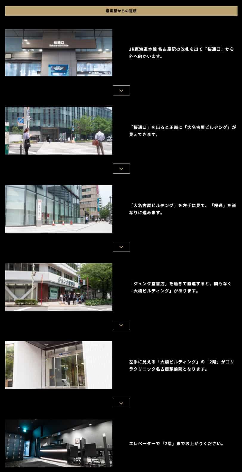 ゴリラクリニック名古屋駅前院への道順